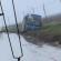 """Un """"fiume"""" di acqua e fango sotto Candela: fuoristrada autobus delle Ferrovie del Gargano"""